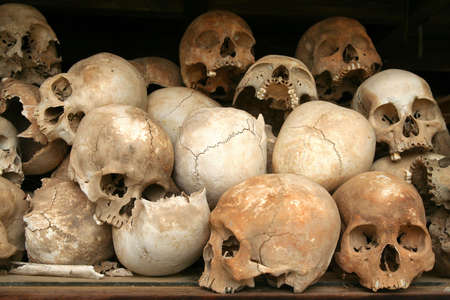Skulls at the genocide museum in the killing fields in Cambodia. Editorial