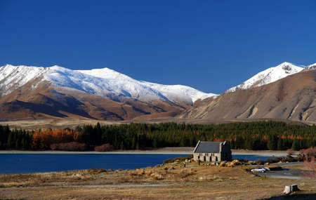 Church of Good Shepherd Lake Tekapo New Zealand Stock Photo