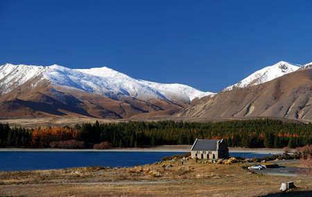 Church of Good Shepherd Lake Tekapo New Zealand Stock Photo