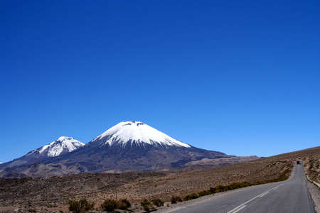 Road through beautiful Lauca National Park Chile photo
