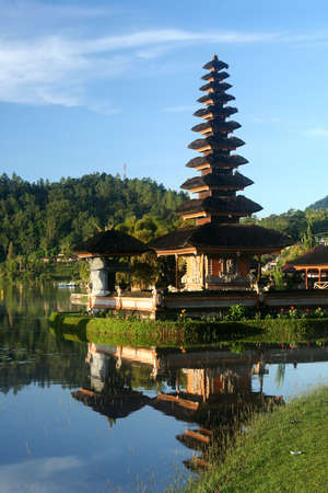 Ulun Danu Temple on the shore of Lake Brataan in Bali in Indonesia