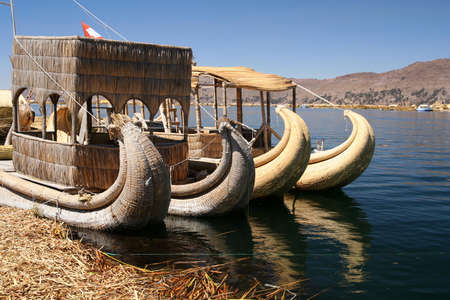 Traditional reedboat on the highest lake in the world - Titicaca in Peru