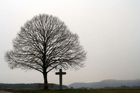 Cross under the lonely tree next to the road in Germany Stock Photo