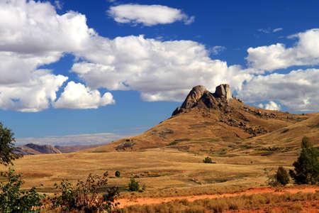Prachtige landschap van de hooglanden van Madagaskar in de buurt van Park National d'Andringitra