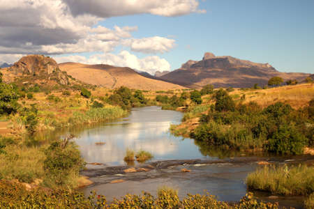vegetation: River flowing  through countryside in  Central Madagascar Stock Photo