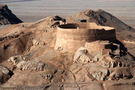 Torens van stilte oude Zoroastrian begraafplaatsen in Yazd, Iran