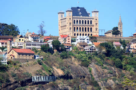 Rova Palace – former Royal Palace from where Malagasy kings and queens ruled, situated on top of a hill in central Antananarivo Imagens - 12337610