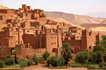 kingdom of heaven: Ait Benhaddou, an ancient fortress city in Morocco near Ouarzazate on the edge of the sahara desert  Used in fils such as Gladiator, Kundun, Lawrence of Arabia, Kingdom of Heaven  Editorial