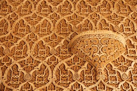 Engrave Details on the walls inside Telouet Kasbah photo
