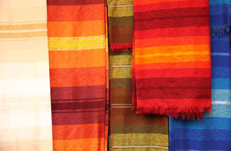 made in morocco: Scarfs on sale on the stand in the medina in Fes, Morocco Stock Photo