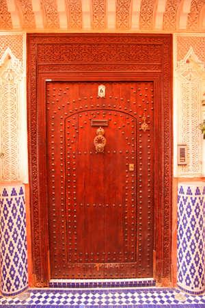Traditional entry door in the medina, Morocco