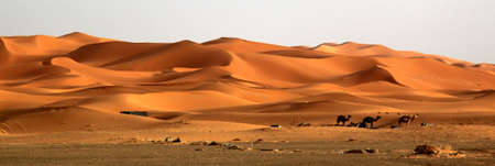 merzouga: Stunning sand dunes of Sahara desert in Merzouga, Morocco Stock Photo
