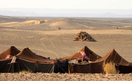 undisturbed: Bedouin desert camp near sanddunes of Merzouga, Morocco