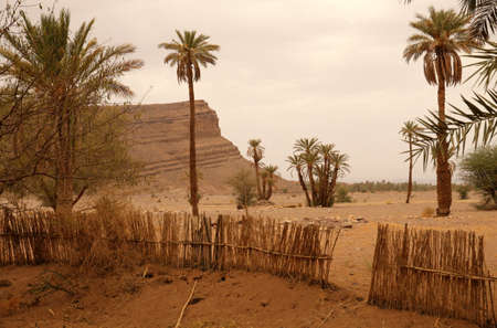 islamic scenery: Landscape of Draa valley before the storm, Morocco