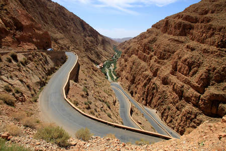 Winding road through impressive Dades gorge, Morocco photo