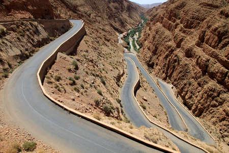 straight path: Winding road through impressive Dades gorge, Morocco