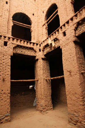 Interior of a beautiful kasbah in Draa Valley, Morocco