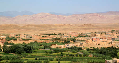 Moroccan city in the beautiful Rose Valley ( Vallee des Roses ), near Ouarzazate, arab, arabic photo