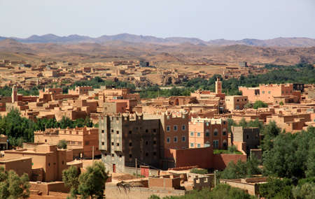 Moroccan city in the beautiful Rose Valley ( Vallee des Roses ), near Ouarzazate, arab, arabic