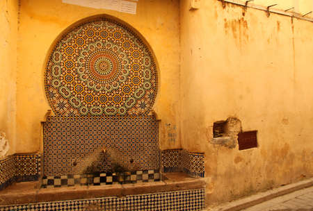 Old fountain in the centre of Fez medina, Morocco