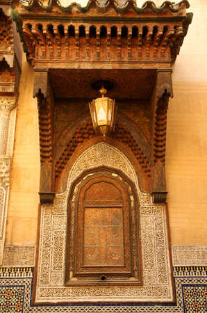 Beautifully decorated window of a mosque in a Fes medina, Morocco