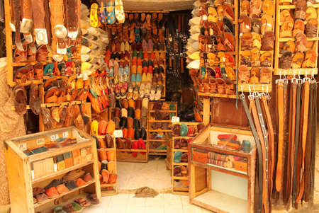 Slippers on display in a shop in medina in Fes, Morocco