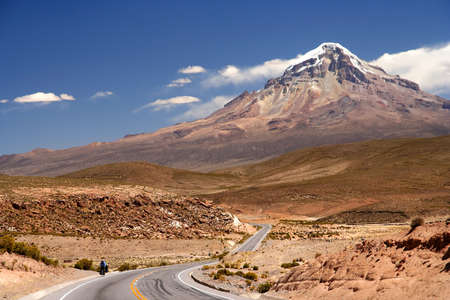 Beautiful road through Nevado Sajama National Park Bolivia