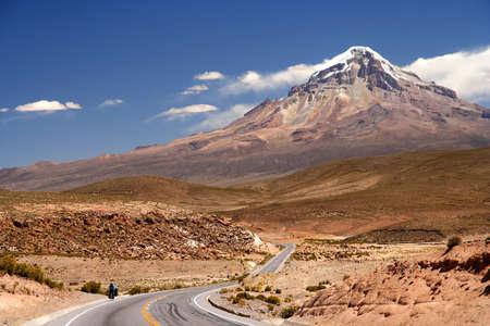 Beautiful road through Nevado Sajama National Park Bolivia