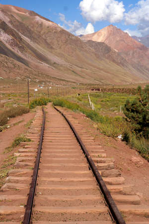 Disused railway track high In the argentinian Andes Stock Photo - 13295198