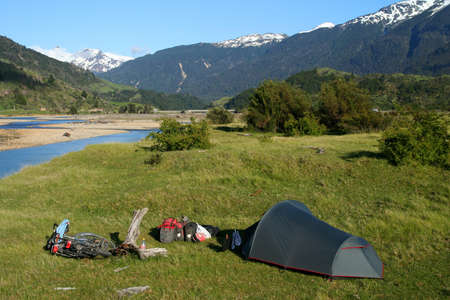 chilean: Beautiful camping spot near the river in Chilean Patagonia Stock Photo