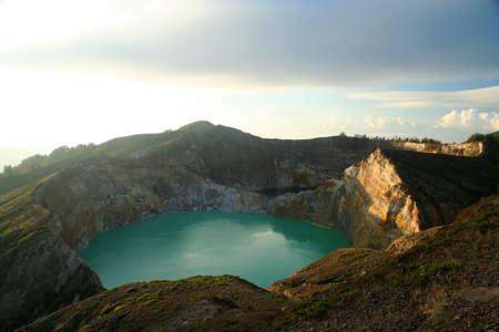 Crater lakes of stunning Kelimutu volcanoe in Flores in Indonesia