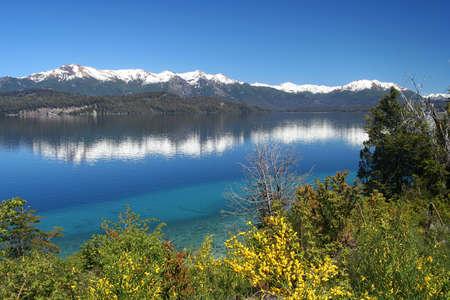 Beautiful lake in argentinian Lake District near Bariloche, Argentina Standard-Bild