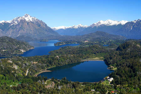 Stunning views of argentinian Lake District from viewpoint on top of Cerro Campanario