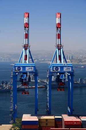 Cranes in the port in Valparaiso, Chile