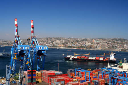 transporting: Busy port in Valparaiso, Chile Editorial