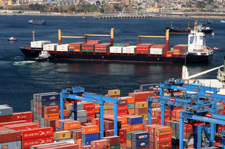 Ship leaving port in Valparaiso, Chile