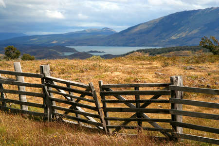 the deep south: Gates to the private estancia in the deep south of Chilean Patagonia, near Puerto Natales