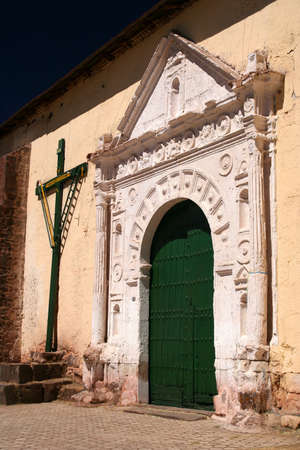 colonial: Entrance to the small colonial church near Puno and Lake Titicaca in Peru Stock Photo