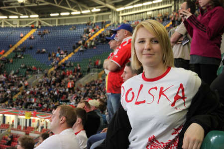 polska: Polish fan during Speedway Grand Prix in Cardiff