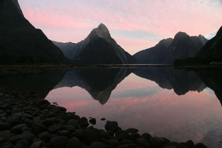 fiordland: Sunrise at Milford Sound in New Zealand