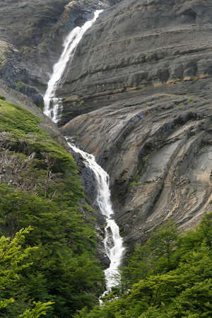 Small waterfall in Torres del Paine National Park in Chile photo