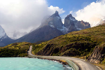 paine: Stunning Cuernos del Paine in southern Chile Stock Photo