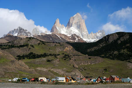 Small town of El Chalten at the foot of Mount Fitz Roy In Patagonia, Argentina photo