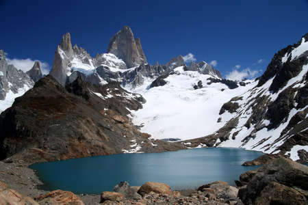 fitz roy: Stuning and impressive Mount Fitz Roy near El Chalten In Patagonia, Argentina Stock Photo