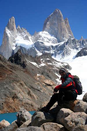 Trekker in front of Stuning and impressive Mount Fitz Roy near El Chalten In Patagonia, Argentina