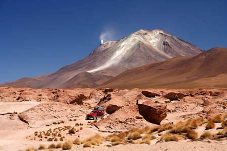 Travelling by jeep through the remote Altiplano region in Bolivia photo