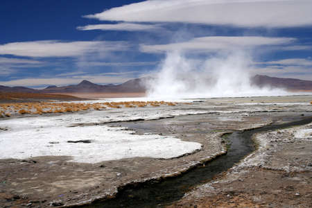 high plateau: Hot springs on the high plateau in the southern Altiplano in Bolivia Stock Photo