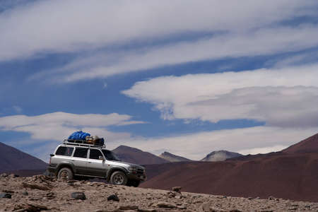 Travelling by jeep through the remote Altiplano region in Bolivia Stock Photo - 15531860