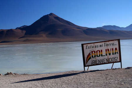 Saltwater lagoon at the bolivian border in Altiplano Stock Photo - 15531865