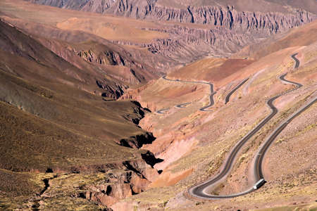 high plateau: Twisting road from the high plateau to Quebrada de Humahuaca mountains in northern Argentina